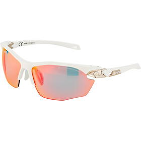 Alpina Twist Five HR QVM+ Lunettes, white matt-silver/rainbow mirror